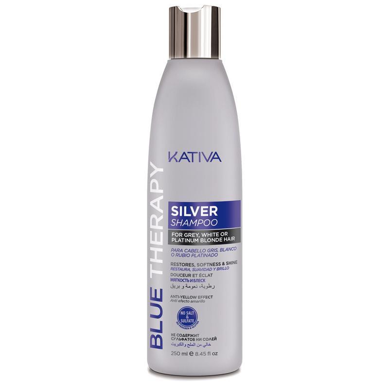 Шампунь нейтрализатор желтизны для осветленных и мелированных волос Blue Therapy Kativa