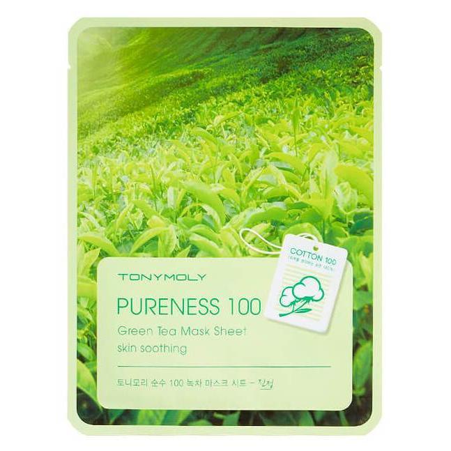 Купить Маска для лица с зеленым чаем Pureness 100 Green Tea Mask Sheet2, TonyMoly (Корея)