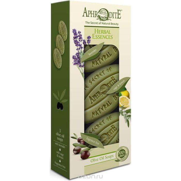 Купить Набор Оливкового мыла Ароматные травы с лавандой, шалфеем и лимоном без отдушки, Aphrodite (Греция)