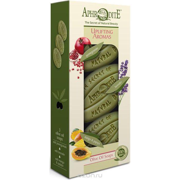 Купить Набор Оливкового мыла Бодрящие ароматы с гранатом, лавандой, манго и папайей, Aphrodite (Греция)