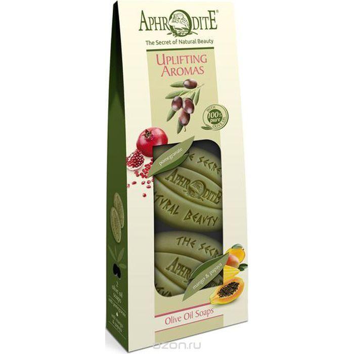 Купить Набор Оливкового мыла Бодрящие ароматы с гранатом, манго и папайей, Aphrodite (Греция)